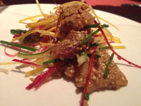 Hamachi, Sesame, Sumac dish at Le Filet. Photo by Kim Gradek
