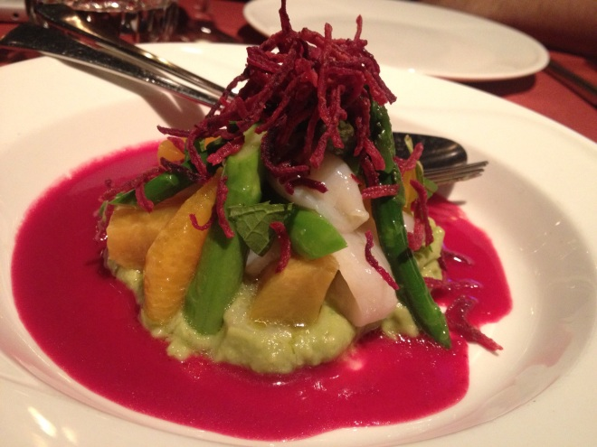 One of the Mount-Royal Salads at Le Filet: Scallops, Avocado, Orange and Beets- Photo by Kim Gradek