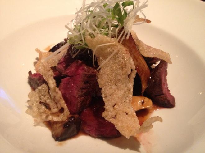 Wagu Tataki, Miso, Eggplant at Le Filet- Photo by Kim Gradek